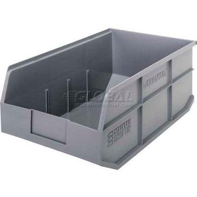 "Quantum Plastic Stacking and Hanging Shelf Bin SSB465 11""W x 18""D x 7""H, Gray - Pkg Qty 6"