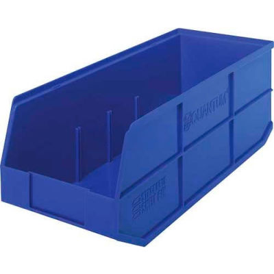 "Quantum Plastic Stackable Shelf Bin SSB483 8-1/4""W x 20-1/2""D x 7""H, Blue - Pkg Qty 6"