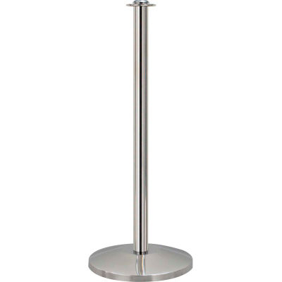 Queueway Post Rope Crowd Control Queue Contemporary Stanchion, Polished Stainless Economy - Pkg Qty 2