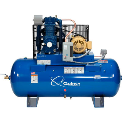Quincy QP™ Pro Two-Stage Air Compressor, 15 HP, 120 Gallon, Horizontal, 460V-3-Phase