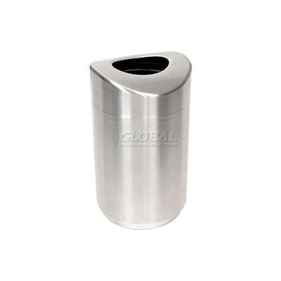 Rubbermaid® Stainless Steel Round Open Top Trash Can W/Plastic Liner, 30 Gallon