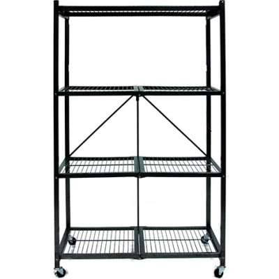 Origami R5-01W General Purpose Collapsible Shelf With Wheels, 4 Tier Steel