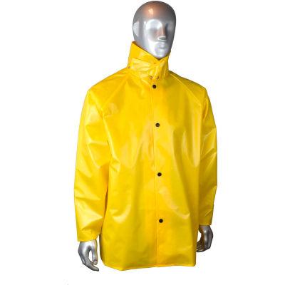 Radians® AquaRad™ Rain Coat, 4XL, 0.25mm, TPU/200D Nylon, Yellow, RJ33-NSYY-4X