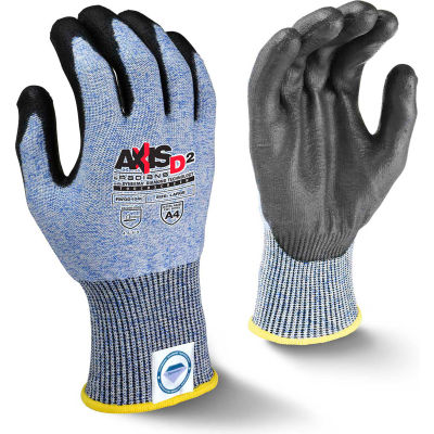 Radians® RWGD104S Axis D2™ Cut Resistant PU Palm Touchscreen Gloves, Blue/Blk, S, 1 Pair - Pkg Qty 12