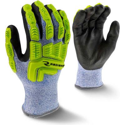 Radians® RWG604XXL Cut Resistant Insulated Gloves, Micro Nitrile Palm, Grn/Blk/Blu, 2XL, 1 Pr - Pkg Qty 12