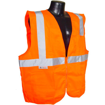 Radians® SV2Z Economy Class 2 Solid Safety Vest W/ Zipper, Hi-Vis Orange, 4XL - Pkg Qty 12