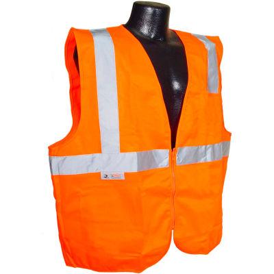 Radians® SV2Z Economy Class 2 Solid Safety Vest W/ Zipper, Hi-Vis Orange, L - Pkg Qty 12