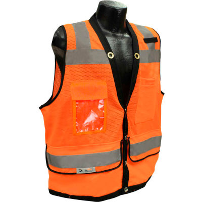 Radians® Type R Class 2 Heavy Duty Surveyor Safety Vest, Snap, XL, Orange, SV59-2ZOD-XL