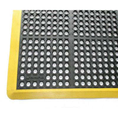 "Rhino Mats K-Series Safety Tract Anti Fatigue Drain Mat 7/8"" Thick 40"" x 12' Black/Yellow"
