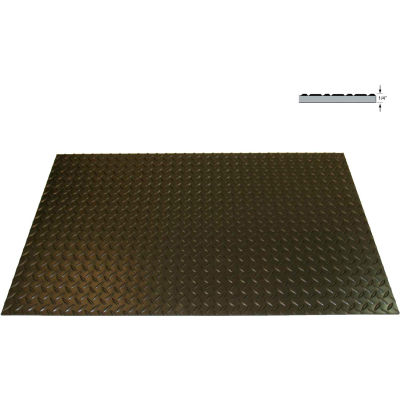 "Rhino Mat Diamond Top Switchboard Mat 1/4"" Thick 2' x 75' Black"