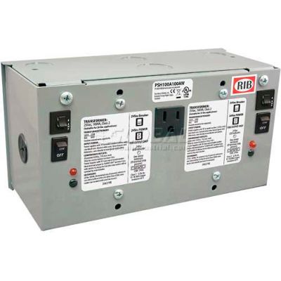RIB® AC Power Supply PSH100A100AW, Enclosed, Dual, 100VA, 120-24VAC