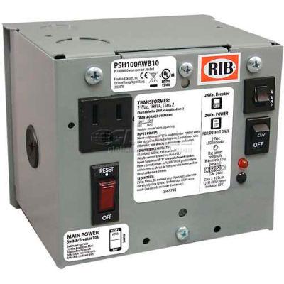 RIB® AC Power Supply PSH100AWB10, Enclosed, Single, 100VA, 120-24VAC, 10A Breaker