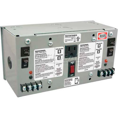 RIB® AC Power Supply PSH75A75AB10, Enclosed, Dual, 75VA, Multi-Tap 24VAC, 10A Breaker