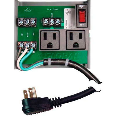 RIB® UPS Interface Board PSM2RB10, 10A Breaker/Switch, 120VAC, 2 Outlets, Power Cord