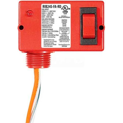 RIB® Enclosed Polarized Relay RIB24S-FA-RD, 10A, SPST, 24VACVDC, Override Switch, Red Housing