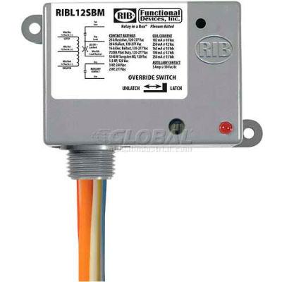 RIB® Enclosed Latching Relay RIBL12SBM, 20A, 12VAC/DC, W/switch & Aux Contact