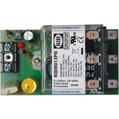 "RIB® Panel Relay RIBM013PN, 4"" x 2.45"", 20A, 3PDT, 120VAC"