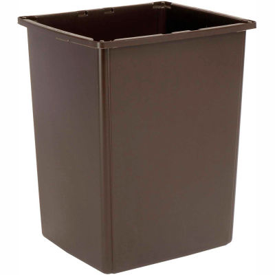 Rubbermaid® Plastic Square Trash Can With Raised Tabs, 56 Gallon, Brown