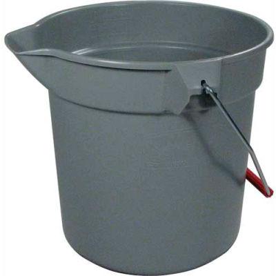 "Rubbermaid® Brute 10 Qt. Round Plastic Utility Bucket 10-1/2"" Dia x 10-1/4""H, Gray- RCP296300GY - Pkg Qty 12"