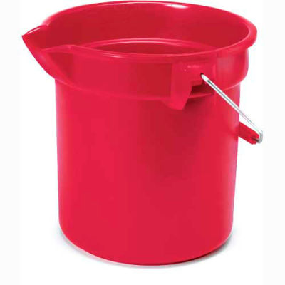 """Rubbermaid® Brute 10 Qt. Round Plastic Utility Bucket 10-1/2"""" Dia x 10-1/4""""H, Red - RCP2963RED - Pkg Qty 12"""