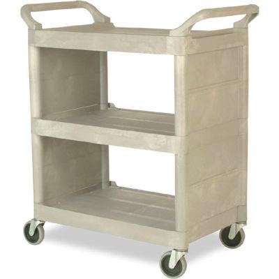 """Rubbermaid® Plastic Service Cart W/Enclosed Ends, 3 Shelf, 31""""Lx18""""W, Platinum"""