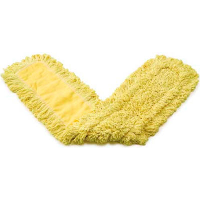 "Rubbermaid® 36"" x 5"" Trapper Commercial Looped-End Launderable Dust Mops, Yellow - RCPJ15500YEL - Pkg Qty 12"