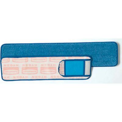 "Rubbermaid® HYGEN 18"" Microfiber Wet Pads W/ Nylon/Polyester Scrubber, Blue - Q415 - Pkg Qty 6"