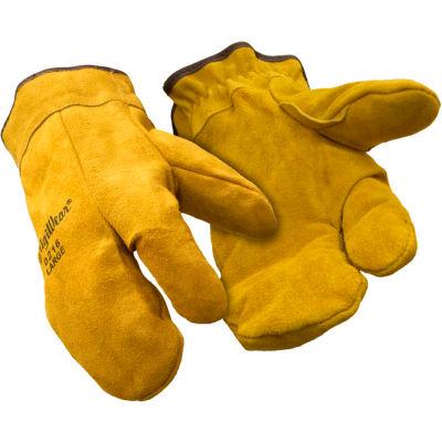 3-Finger Leather Mitt, Gold - Large