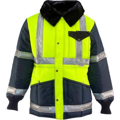 RefrigiWear Iron-Tuff™ Jackoat™, Black/HiVis Lime, -50° Comfort Rating, L Regular