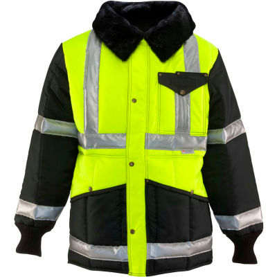 RefrigiWear Iron-Tuff™ Jackoat™, Black/HiVis Lime, -50° Comfort Rating, S Regular