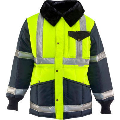 RefrigiWear Iron-Tuff™ Jackoat™, Black/HiVis Lime, -50° Comfort Rating, XL Regular