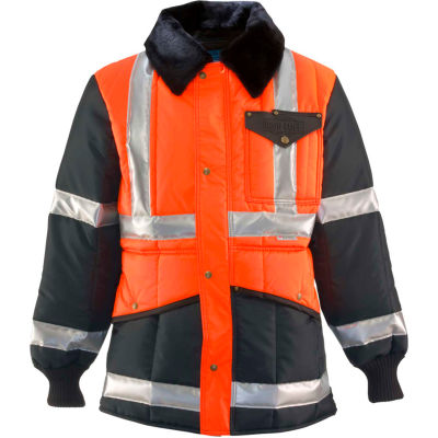 RefrigiWear Iron-Tuff™ Jackoat™, Black/HiVis Orange, -50° Comfort Rating, 5XL Tall