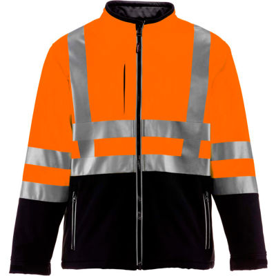 RefrigiWear HiVis Insulated Softshell Jacket, Black/Orange, Class 2, -10°F Comfort Rating, 4XL
