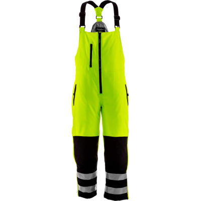 RefrigiWear HiVis Insulated Softshell High Bib, Black/Lime, -10°F Comfort Rating, 4XL