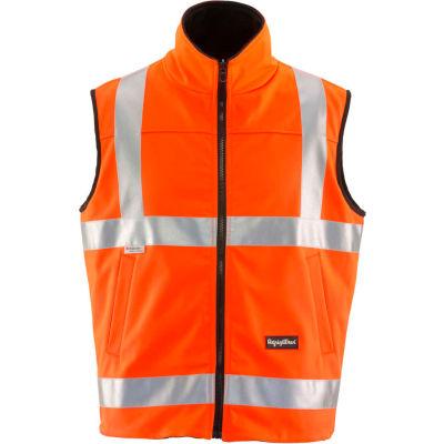 RefrigiWear HiVis Reversible Softshell Vest, Orange/Black, Class 2, 20° Comfort Rating, M