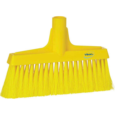 "Vikan 31046 10"" Upright Broom- Soft/Stiff, Yellow"