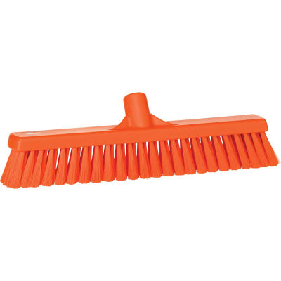 "Vikan 31797 16"" Small Particle Push Broom- Soft, Orange"