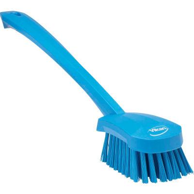 Vikan 41863 Long Handle Scrubbing Brush- Stiff, Blue