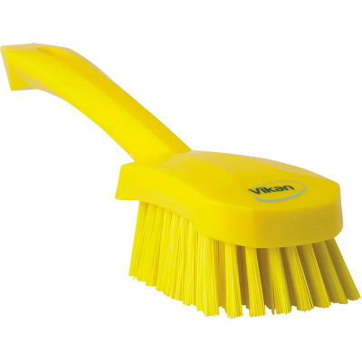 Vikan 41926 Short Handle Scrubbing Brush- Stiff, Yellow