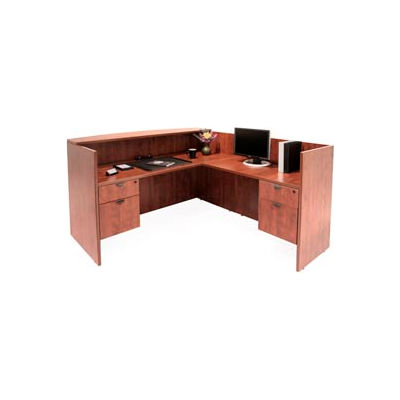 Regency Reception Station with Double Pedestals - Cherry - Manager Series