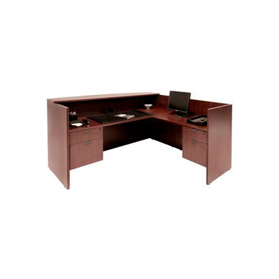 Regency Reception Station with Double Pedestals - Mahogany - Manager Series