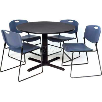 "Regency Table and Chair Set - 36"" Round - Gray Table / Blue Wide Plastic Chairs"