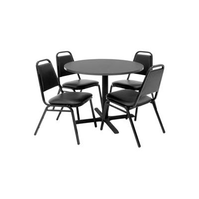 """Regency Table and Chair Set - 36"""" Round - Mocha Walnut Table / Black Vinyl Chairs"""