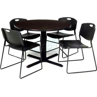 """Regency Table and Chair Set - 36"""" Round - Mocha Walnut Table / Black Wide Plastic Chairs"""