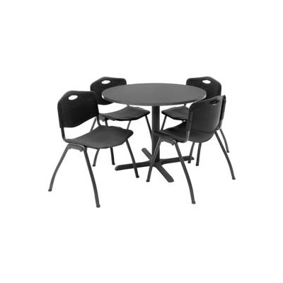 """Regency Table and Chair Set - 36"""" Round - Mocha Walnut Table / Black Plastic Chairs"""