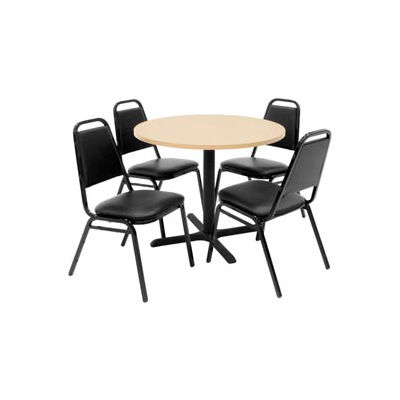 """Regency Table and Chair Set - 42"""" Round - Beige Table / Black Vinyl Chairs"""