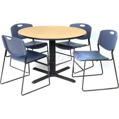 """Regency Table and Chair Set - 42"""" Round - Beige Table / Blue Wide Plastic Chairs"""