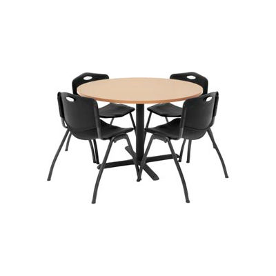 """Regency Table and Chair Set - 42"""" Round - Beige Table / Black Plastic Chairs"""