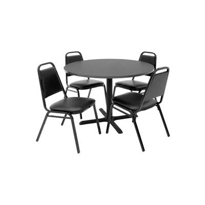 """Regency Table and Chair Set - 42"""" Round - Gray Table / Black Vinyl Chairs"""
