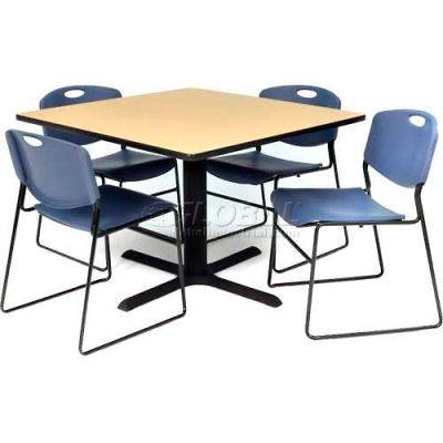 """Regency Table and Chair Set - 36"""" Square - Beige Table / Blue Wide Plastic Chairs"""